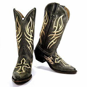 Justin Bent Rail Snip Toe Distressed Western Boot